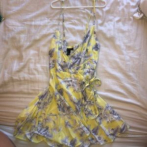 forever21 yellow and lavender floral wrap dress